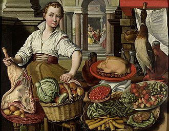 Joachim Beuckelaer - Kitchen scene, with Jesus in the House of Martha and Mary in the background