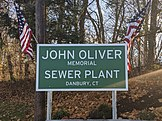 Sign at the John Oliver Memorial Sewer Plant