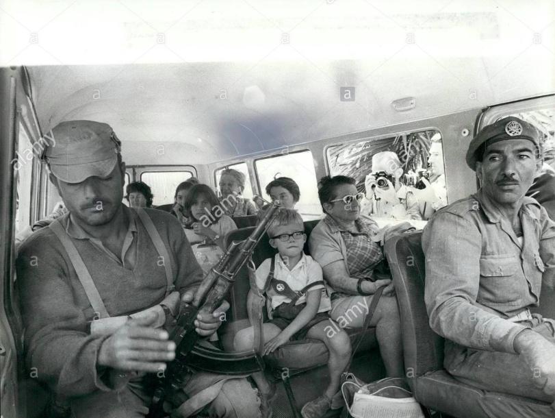 Jordanian army escorts freed family in Black September 1970