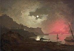 Joseph Wright of Derby: A view of Vesuvius from Posillipo, Naples