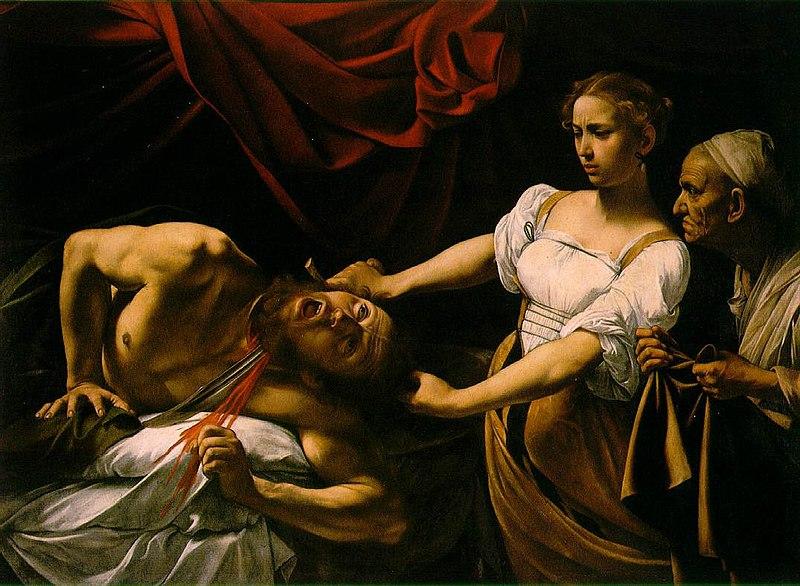 Judyta obcinająca głowę Holofornesowi, Caravaggio, olej na płótnie, ok. 1598-1599
