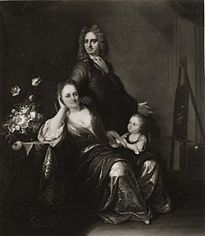 Family portrait with flower still-life in the making