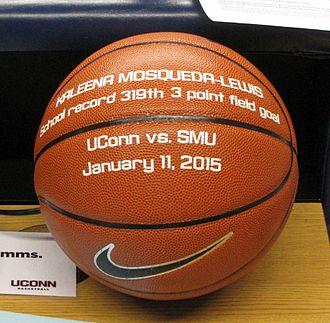 2014–15 Connecticut Huskies women's basketball team - Kaleena Mosqueda-Lewis record setting game ball vs. SMU. 11 Jan 2015