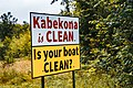 Kabekona is Clean, Is Your Boat Clean - Invasive Species Lake Sign, Minnesota (41759060630).jpg
