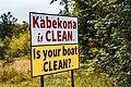 Kabekona is Clean, Is Your Boat Clean - Invasive Species Lake Sign, Minnesota (41759060630).jpg