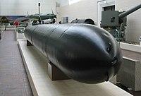 人間魚雷・回天一型(靖国神社の軍事博物館の遊就館の展示)