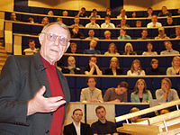 Ingvar Kamprad, founder of IKEA, lecturing a group of students at Växjö University, March 23, 2004.