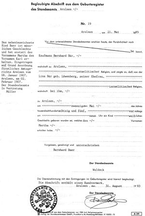 "Karl M. Baer - Beglaubigte Abschrift von Baers Geburtseintrag beim Standesamt Arolsen / 1969 Official Copy ""certified copy"" of his corrected entry in the German Births Register Arolsen (Hesse)"