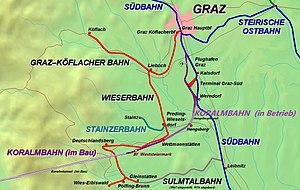 Route of the Graz-Köflacher Bahn and bus service