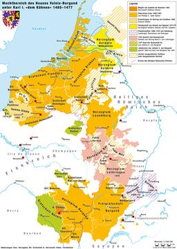 Kaart Bourgondië Nederland