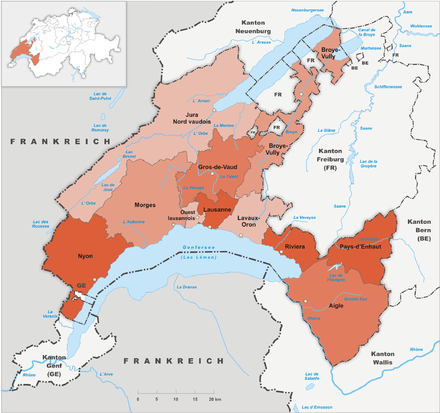Map of the modern Canton of Vaud, which was annexed by Bern from 1536 until 1798 Karte Kanton Waadt Bezirke 2010.png