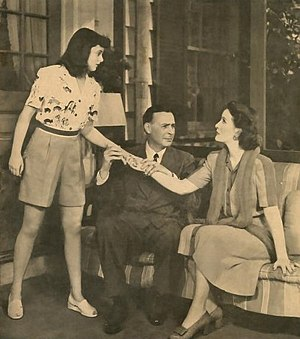 Kiss and Tell (play) - L-R: Patricia Kirkland, Clay Clement and Katherine Warren in a Chicago production of Kiss and Tell (1943).