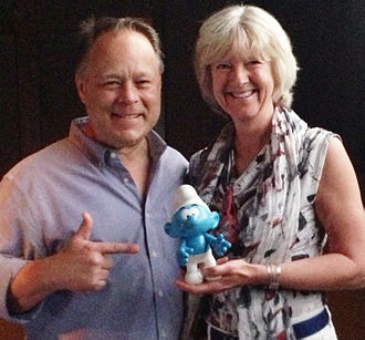 Smurfs: The Lost Village - Director Kelly Asbury with Peyo's daughter, Véronique Culliford