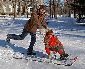 Kicksled - Kicksled with child.