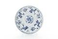 Kinesiskt tefat av porslin med fiskar i blå underglasyrmålning - Skoklosters slott - 93544.tif