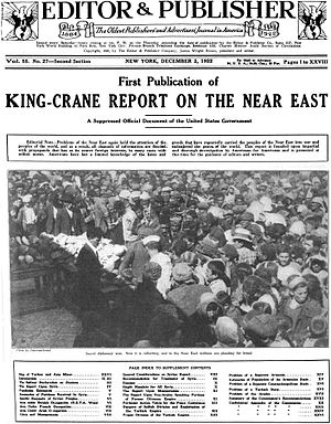 "King–Crane Commission - The first publication of the report in Editor & Publisher magazine in December 1922. The publication was described as a ""Suppressed Official Document of the United States Government."""