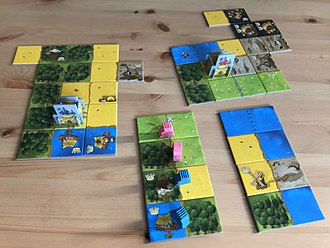 Kingdomino - Game situation between two players in Kingdomino