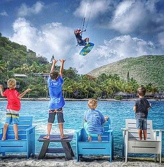 Saba Rock - Image: Kiteboarding at Saba Rock Resort, British Virgin Islands
