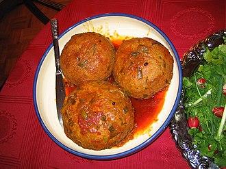 Kofta - Tabrizi kofta (Iran) includes yellow split peas and potatoes for vegetarian koftas well as minced meat