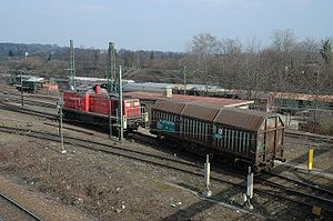 Switching and terminal railroad - A switch engine pushing a car over the hump of a classification yard