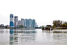 Kuban River in Krasnodar city. Water-carriage. Residential area.jpg