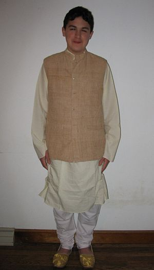 Bandi (jacket) - A Khadi bandi worn over a kurta and churidar.