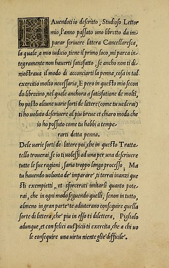 Italic type - A page from La Operina by Ludovico Vicentino degli Arrighi, showing the chancery writing style.