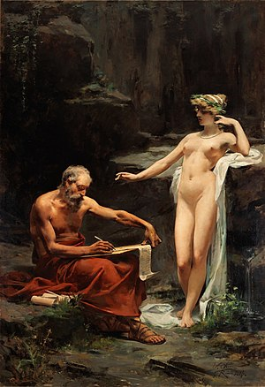 Egeria (mythology) - The nymph Egeria dictating the laws of Rome to Numa Pompilius, by Ulpiano Checa.
