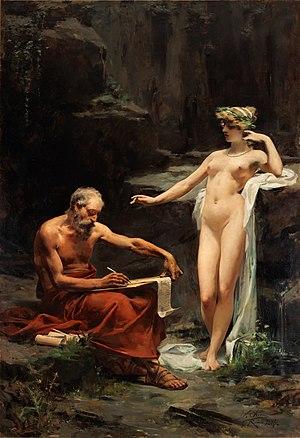 Egeria (mythology) - The nymph Egeria dictating the laws of Rome to Numa Pompilius, by Ulpiano Checa.