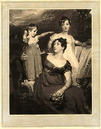 Sir Thomas Dyke Acland, 11th Baronet - Thomas Dyke Acland (right) with his mother Lydia Elizabeth Hoare (centre) and Arthur Henry Dyke Acland (left). Mezzotint by Samuel Cousins, 1826.
