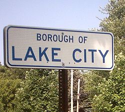 Lake City borough sign
