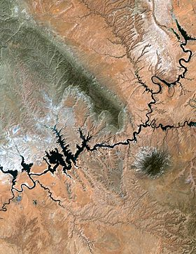Vue satellite du lac Powell