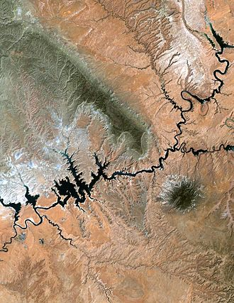 Kaiparowits Plateau - The Kaiparowits Plateau (green area in center), as seen from space (NASA)