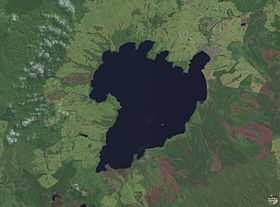 Le lac Taupo par satellite.