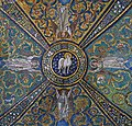 Lamb of God and angeles. Detail of the apse ceiling mosaic in the Basilica of San Vitale. Ravena, Italy.jpg
