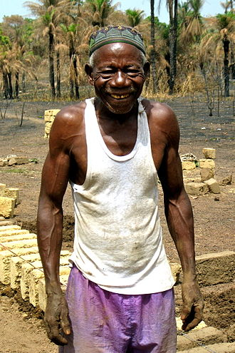 Ethnic groups in Sierra Leone - A Loko stonemason and carpenter, 2011.
