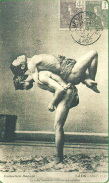 Muay Lao boxers training during the colonial period
