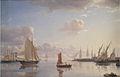 Larsen Udsigt fra Langelinie mod Nyholm med Mastekranen Morgenbelysning 1850.jpg
