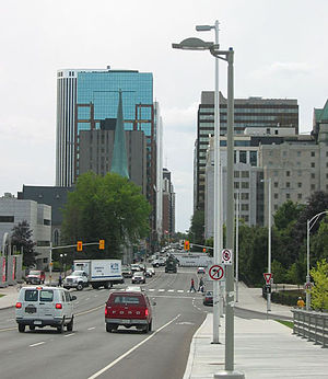 Laurier Avenue - Laurier Avenue, facing west, as seen from the bridge