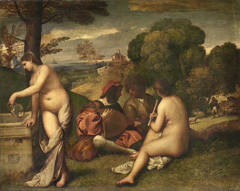 Le Concert champêtre, by Titian, from C2RMF retouched.jpg
