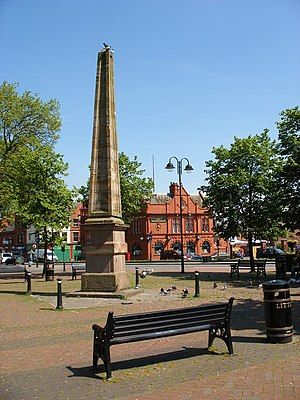 Leigh, Greater Manchester - Image: Leigh, Obelisk and Boar's Head geograph.org.uk 806241