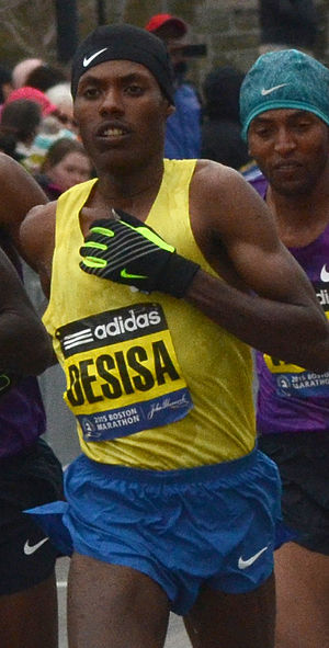 2015 Boston Marathon - Image: Lelisa Desisa Benti 2015
