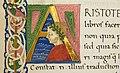 Leonardo bruni, traduzione dell'etica nicomachea di aristotele, firenze 1450-75 ca. (bml, pluteo 79.6) 02 iniziale A con aristotele.jpg