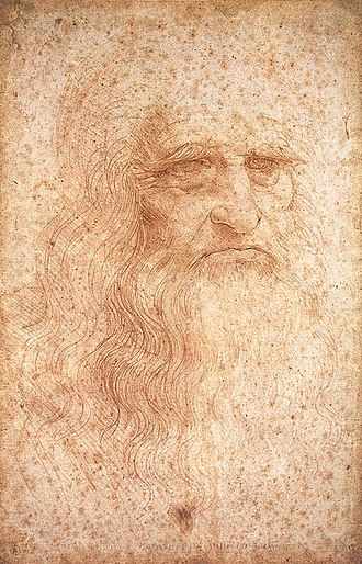 Mona Lisa - Presumed self-portrait by Leonardo da Vinci, executed in red chalk sometime between 1512 and 1515