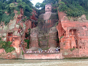 Sichuan - The Leshan Giant Buddha, built during the latter half of the Tang dynasty (618–907).