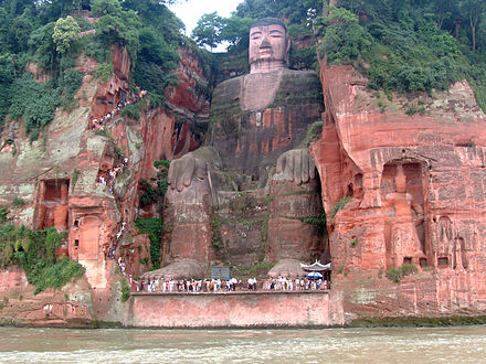 The Leshan Giant Buddha, 71 m (233 ft) high; begun in 713, completed in 803 Leshan Buddha Statue View.JPG
