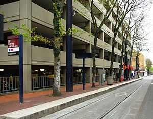 Library SW 9th Ave MAX station - Portland, Oregon.JPG