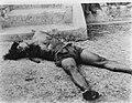 Lijk van een zwaar toegetakelde man ligt op de grond bij een trap. Zijn armen l, Bestanddeelnr 8823.jpg