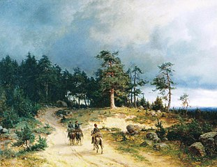 Landscape in Eastern Finland with Mounted Cossacks
