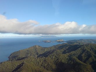 Little Barrier Island - The island (in the distance) from over Great Barrier Island.